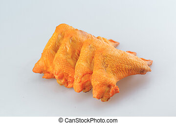 smoked chicken wings on a white background