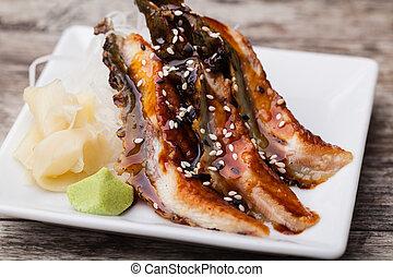 smoked Eel sashimi with withe plate