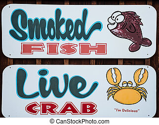 Smoked Fish anf Live Crab restaurant sign