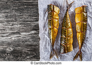 Smoked fish Mackerel or Scombe, top view