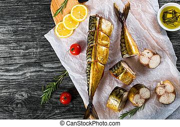 Smoked fish Mackerel or Scombe, top view