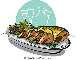 smoked fish mackerel with lemons and olives