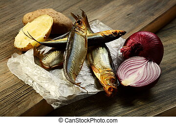 Smoked fish, potatoes and red onion.