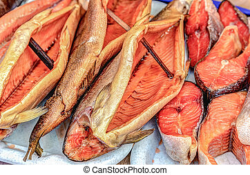 Smoked fish ready to sale at the farmers market