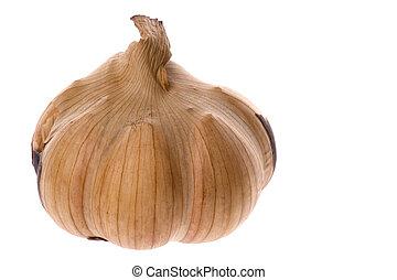 Smoked Garlic - Isolated macro image of a smoked garlic.