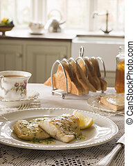 Smoked Haddock with Herb Butter and Toast