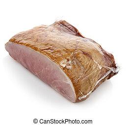 Smoked Ham On White Background.