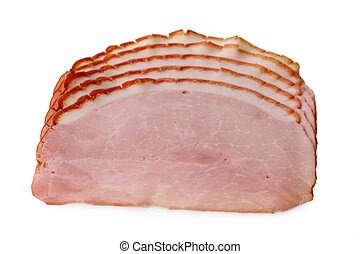 Smoked ham - Slices of smoked ham isolated on white ...