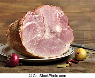 Smoked Ham - Smoked Sliced Ham On A Plate