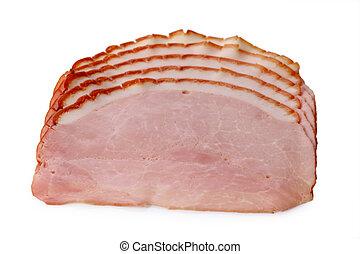 Smoked ham - Slices of smoked ham isolated on white...