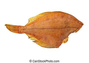 Smoked headless flatfish isolated on white background