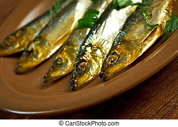 Smoked herring -home-style. closeup