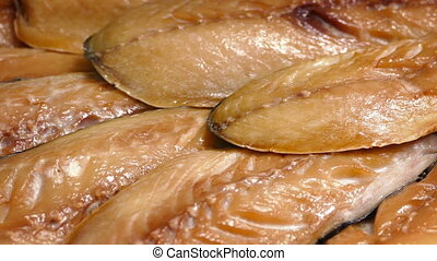 Smoked Mackerel Fish - Tasty smoked mackerel fish turning...