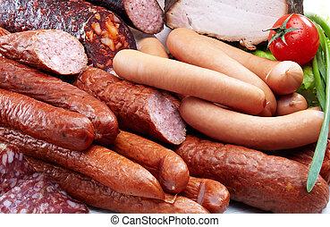 Smoked meat and sausages salami