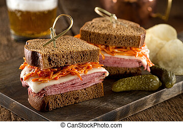 Smoked Meat on Rye Sandwich