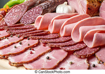 smoked meat on wood isolated white background