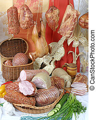 Smoked meat products - A variety of processed cold meat...
