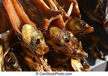 Smoked Omul Fish for Sale along Lake Baikal, Russia.