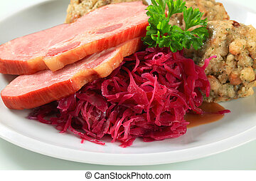 Smoked pork with Tyrolean dumplings and red kraut - Dish of ...