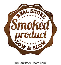 Smoked product sticker, icon, stamp or label