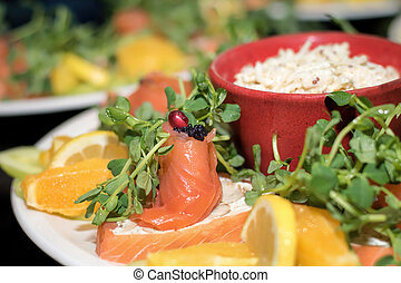 Smoked salmon and caviar. Luxury fine food catering seafood platter.