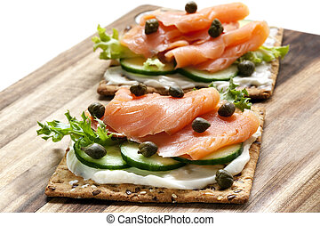 Smoked Salmon and Cream Cheese Crackers