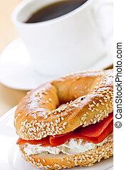 Smoked salmon bagel and coffee