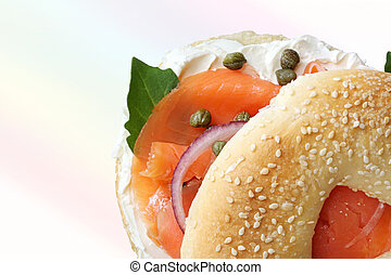 Smoked Salmon Bagel - Bagel and lox. Smoked salmon, cream ...