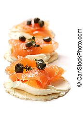 Smoked Salmon Canapes - Canapes with smoked salmon, cream...