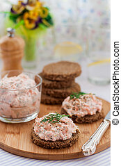 Smoked Salmon, Cream Cheese, Dill and Horseradish Pate on ...