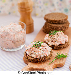 Smoked Salmon, Cream Cheese, Dill and Horseradish Pate on Rye Bread Slices