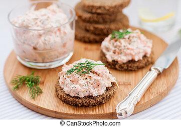 Smoked Salmon, Cream Cheese, Dill and Horseradish Pate on ...