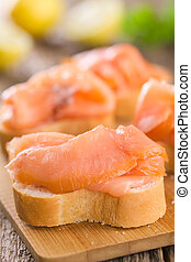 Smoked Salmon on Baguette