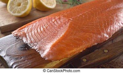 Smoked Salmon on Cedar Plank - Delicious sliced smoked...