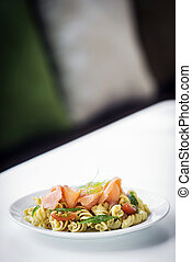 smoked salmon organic tomato and basil fresh pasta salad