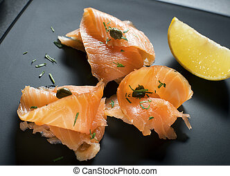 Smoked Salmon - Pieces of fresh smoked salmon served on a ...