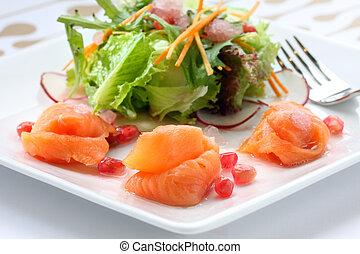 Fresh plate of smoked salmon salad