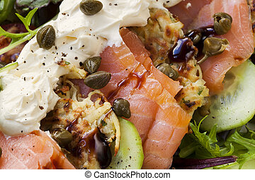 Smoked Salmon Salad with Potato Rosti - Smoked salmon salad ...