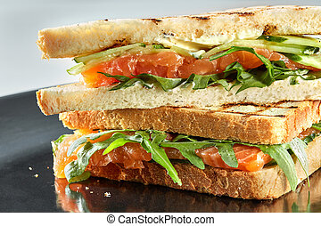 Smoked Salmon Sandwich with vegetables