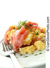 Smoked Salmon Scrambled Eggs - Scrambled eggs on toast, with...