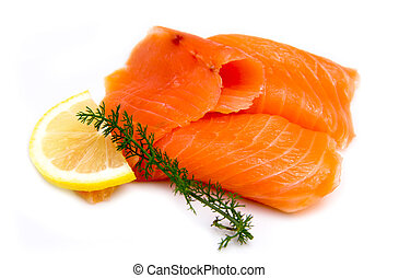 Smoked salmon seen up close on a white background