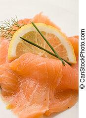 Smoked Salmon - photo of delicious smoked salmon with slice...