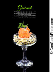 Smoked salmon with noodles and caviar, gourmet cuisine