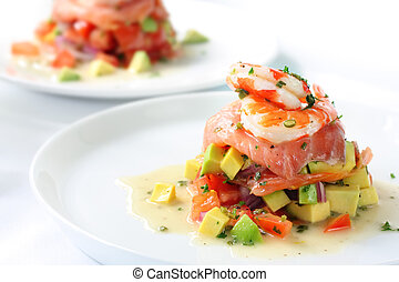 Smoked Salmon with Prawns