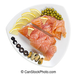 Smoked salted salmon on a plate