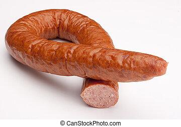 Smoked sausage - Fatty home smoked sausage on a white ...