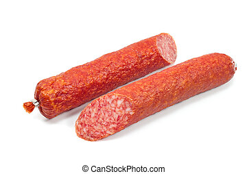 Smoked sausage isolated on a white background