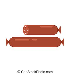 Smoked sausage isolated on white background. Salami wurst barbecue vector illustration, grill food unhealthy.