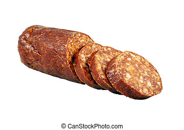 Smoked sausage isolated on white
