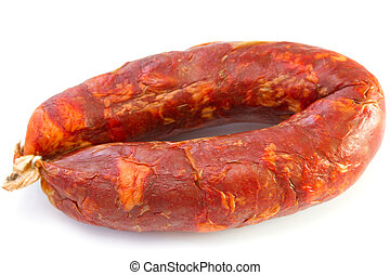 smoked sausage on white background